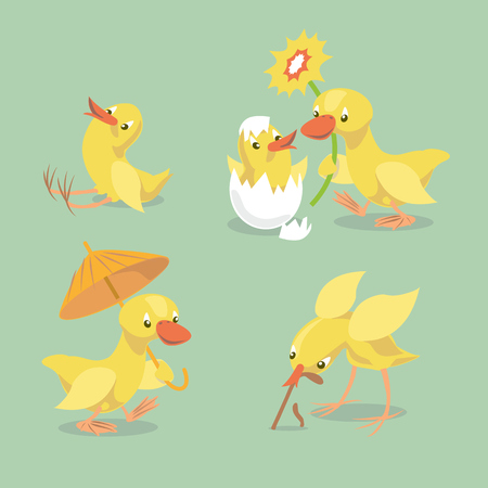 Small chick hatched from eggs. Little chicken sitting on the ground. Yellow duckling comes with an umbrella. Duck congratulates chicken whith happy birthday. Vector illustration. Illusztráció