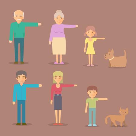 familia animada: personajes de vectores planas. Mamá, papá, abuela, abuelo, hijo hija perro juego de caracteres familia de los gatos Vectores