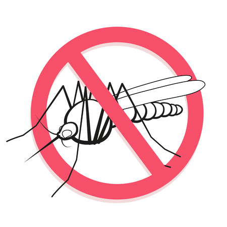 institutional: Mosquito prohibited sign. For informational and institutional related sanitation and care. Warning. Vector illustration.