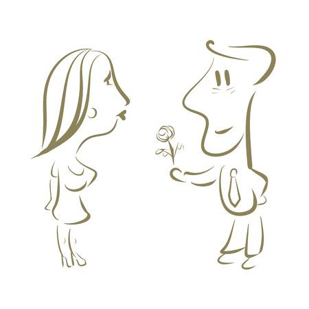 El hombre da a una mujer un ramo de flores. Primera fecha. Ilustración del vector.