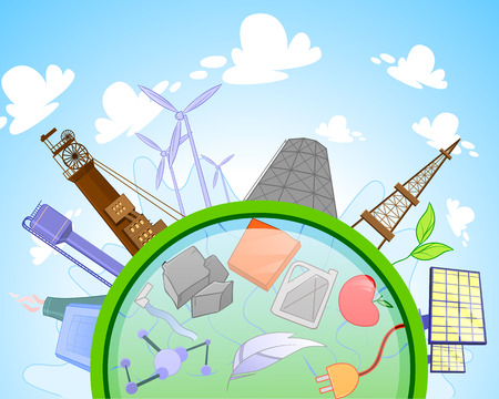 electro world: Type of renewable and not renewable energy. Solar, wind, hydro, bio fuel, geothermal, coal, nuclear, gas, dam, rig, oil, heat energy for layout banner, web design, statistic, brochure template
