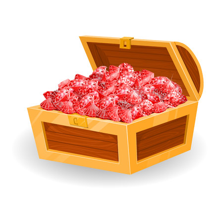 Isolated chest with red rubies. vector illustration