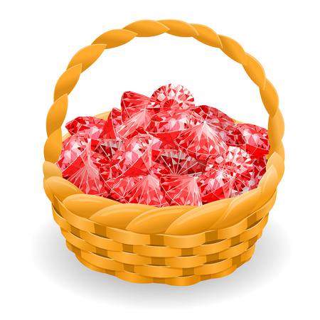 Isolated basket with red rubies. vector illustration