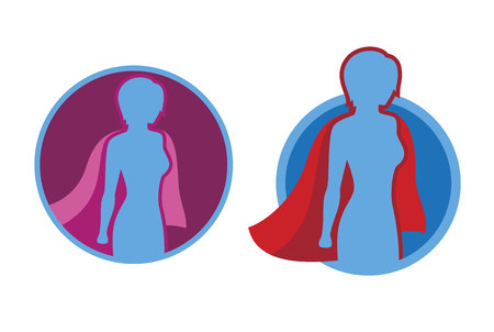 cloak: Female superhero icon - vector superhero silhouette wearing red cloak flying on wind. Illustration