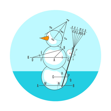 Blue geometric drawing snowman in circle. Vector illustration