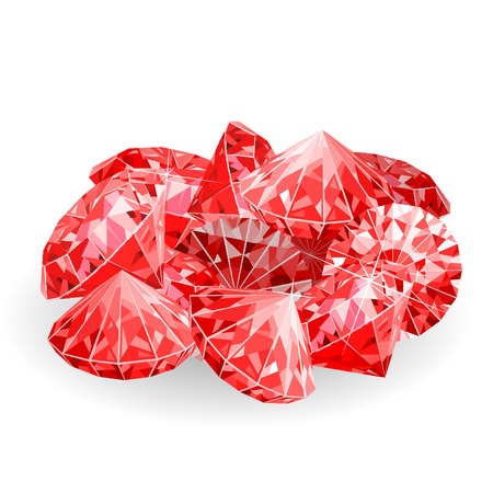Isolated handful of red rubies. vector illustration Illustration