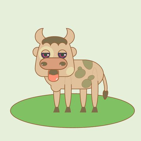frise: Flat small bull cute. Isolated vector illustration