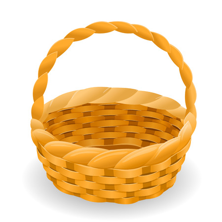 Wicker basket icon vector symbol, empty wicker basket illustration, vector illustration isolated on white background Ilustração
