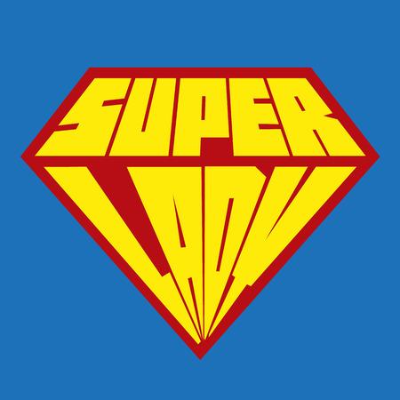 超级女士和一个盾牌在蓝色背景下被隔离
