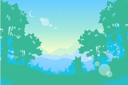 illustrating: Summer night landscape. Moon and wolf. Vector illustration Illustration