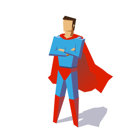 Super hero. Vector isolated illustration, minimalist design. Picture from set. Artwork for presentation or infographics. Vector illustration on a background