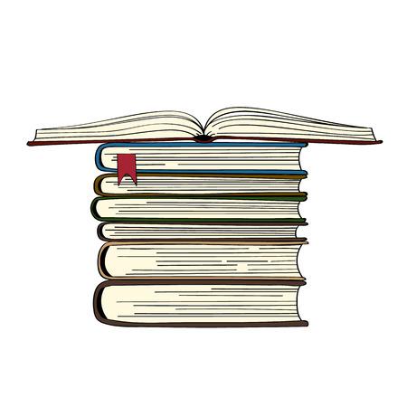 Pile de livres dessinés à la main. illustration vectorielle. Livre ouvert Banque d'images - 68975093