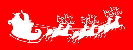 鹿とソリに乗ってサンタ クロース シルエット。ベクター グラフィックは、白い背景で隔離。 写真素材 - 69045940