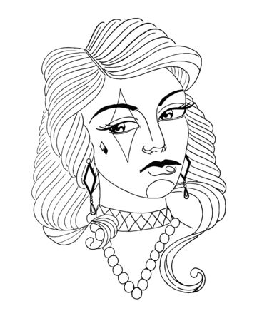 beauty girl face. tattoo vector. retro witch