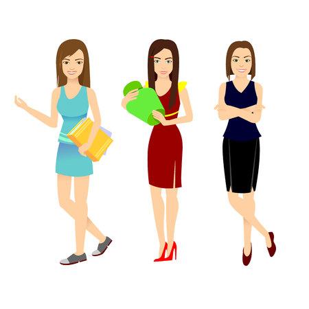 young girls set. Vector illustration in a flat design Illustration