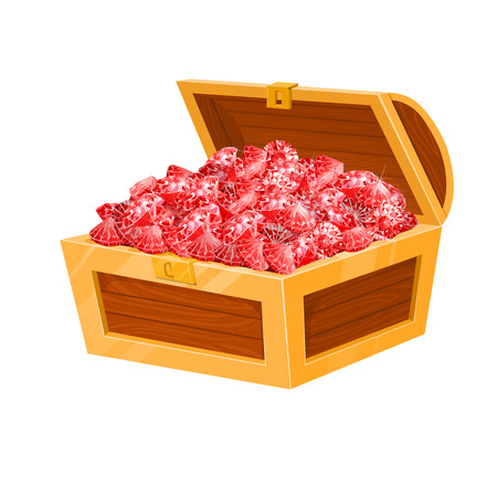 Isolated chest with red rubies. vector illustration. Game desing. Illustration