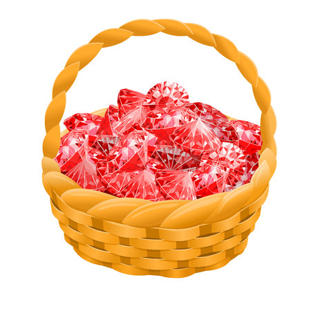 Isolated basket with red rubies. vector illustration. Game desing.