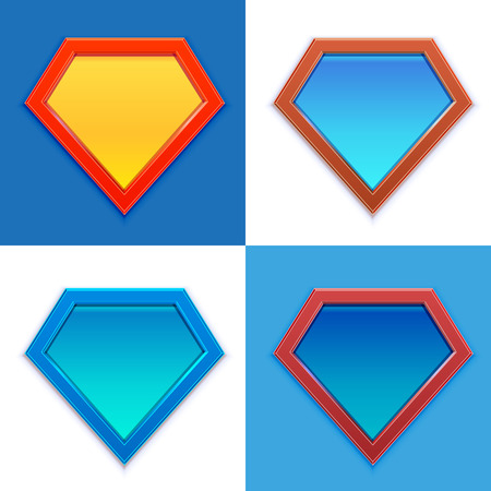 Superhero logo template. Blank super hero badge set. Vector illustration