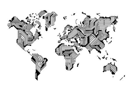 Mapa świata Circuit Board Design ilustracji wektorowych