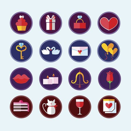 Valentines Day Colorful Icons. Vector Illustration. Love Holiday. Collection of Rectangle Items with Long Shadow.