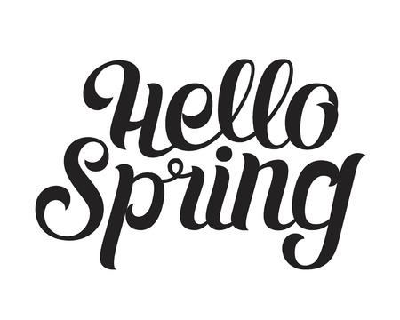 Phrase Hello spring Brush Pen lettering isolated on background. Handwritten vector Illustration.