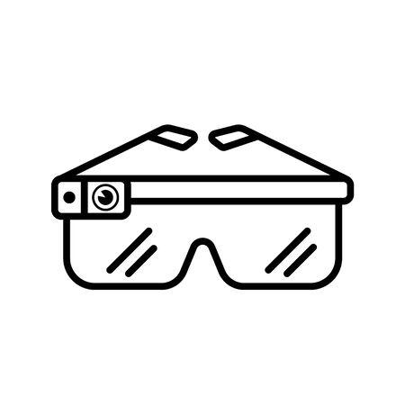 smart glasses outline Icon. Vector illustration on white background
