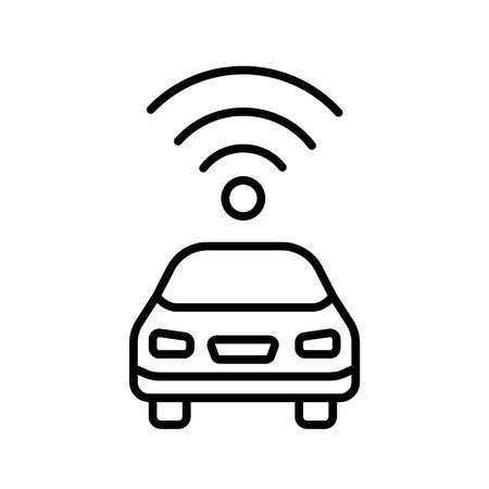 Autonomous self-driving driverless vehicle car side view with radar flat icon. Vector Symbol