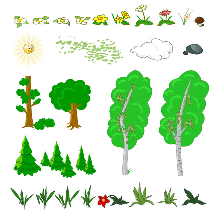 Set of flat forest elements. Include grass, flowers, mushrooms, berries, bushes, trees and sun vector illustration Ilustração