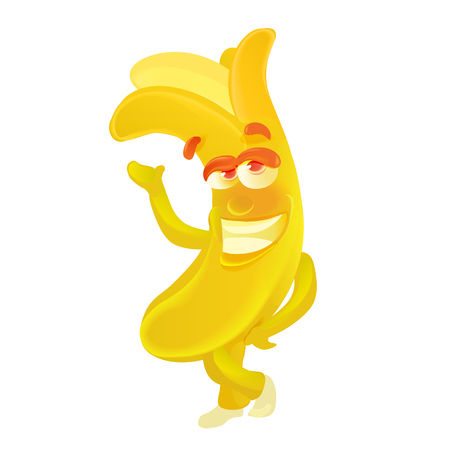 Banana. Cute fruit character isolated on white. Vector illustration Ilustração