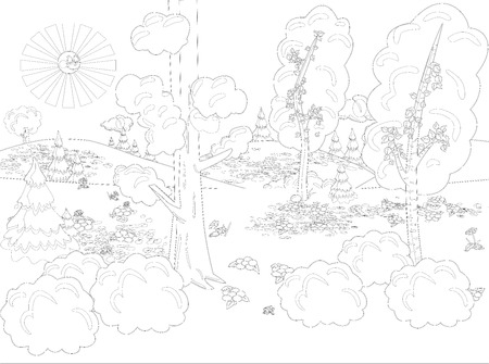 Hand draw decorative landscape trees illustration with decorative lines. Vintage stylized landscape painting for color. Black and white coloring pages for adults. Vector illustration.