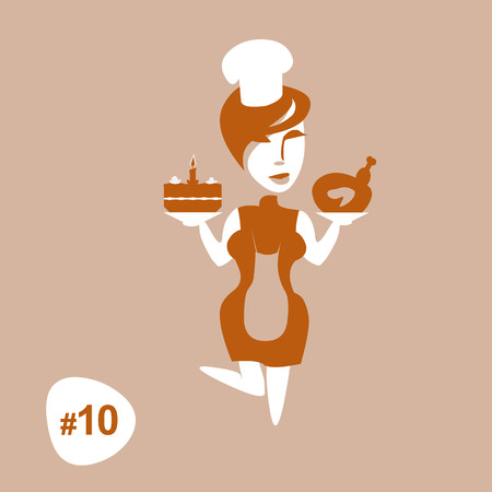 Great Cartoon chef standing in the apron with cooked chicken and delicious cake. Concept for housewife. Vector isolated illustration. Tenth picture from set.  Artwork for girl t shirt or infographics.