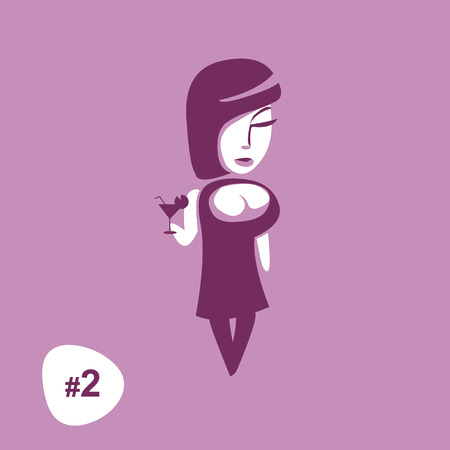 Beautiful women holding glass with cocktail or wine in retro three color print. Vector isolated illustration. Female character. Second picture from a set. Artwork for girl t shirt or infographics. Ilustração