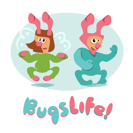 set of cartoon bugs insects funny friendly cheerful cute vector Ilustração