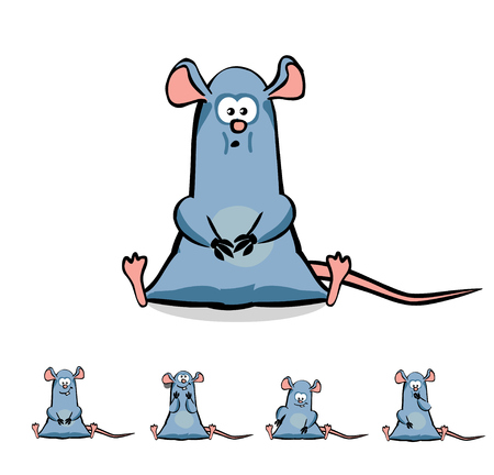 Cute Cartoon Rat or Mouse Set. Vector illustration with no gradients. All in separate layers for easy editing. Can be usefull for children's projects Ilustração
