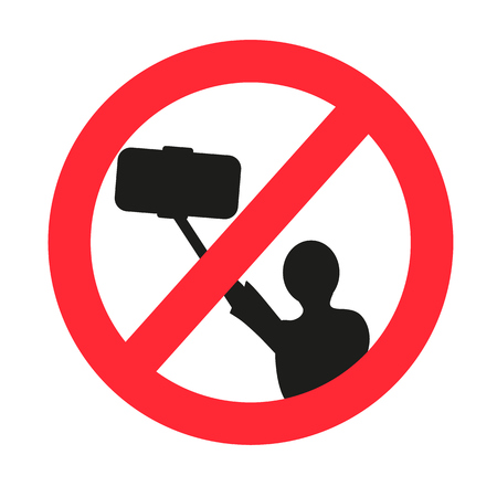 allowed: No selfie allowed sign. Isolated Vector illustration
