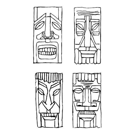 Vintage Carved Polynesian Tiki Totem Vector Idol Masks Sketch Set