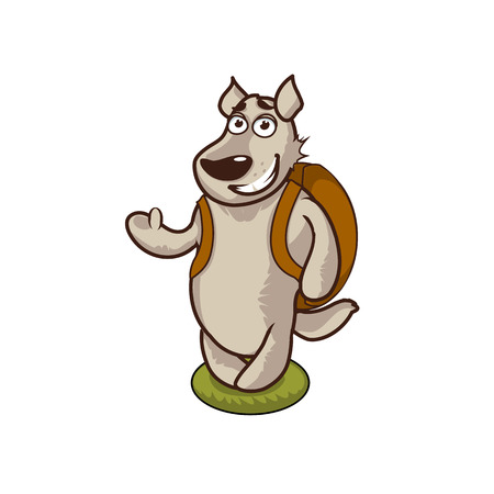 Funny gray wolf on a white background vector illustration. Can use like mascot for print, posters, t-shirts, textiles or other kids stuff. Cartoon animal character vector illustration