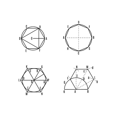 Mathematical vector with geometrical figures and plots. Vector illustration. Geometric drawing set. Set 5 Ilustração