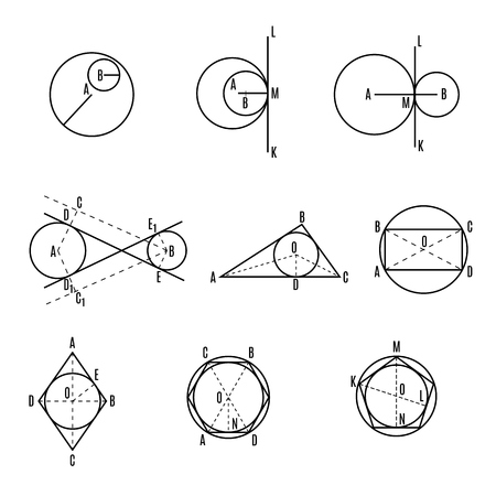 Mathematical vector with geometrical figures and plots. Vector illustration. Geometric drawing set. Set 3