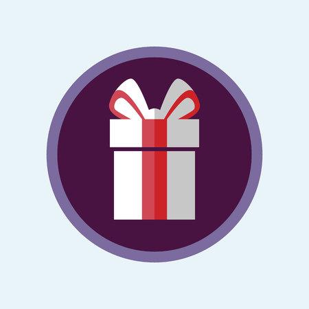 Vector Illustration romantic symbol Colorful Icon. Flat gift box with ribbon Ilustração