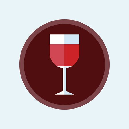 Wine glass icon vector illustration in flat style isolated on white background.