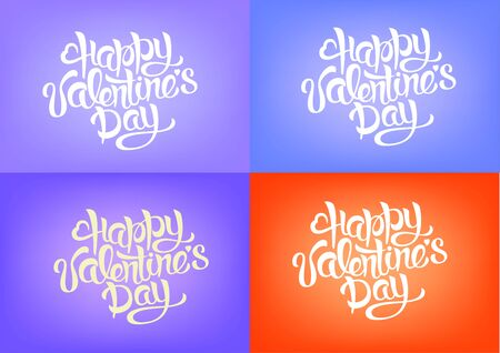 Happy Valentines Day Hand Drawing Lettering design set. Vector illustration