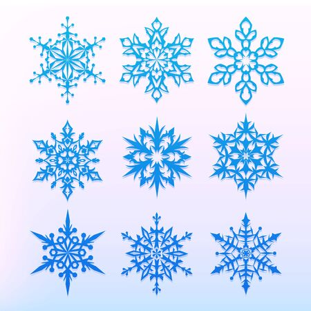 Snowflake icons set. Christmas holiday symbol. Snow for creation of New Year artistic compositions. Winter decoration vector illustration, Ilustração