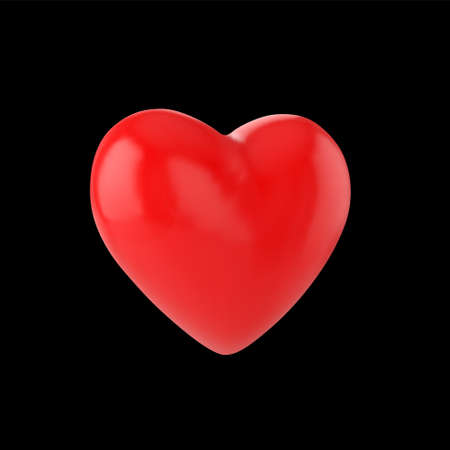 3D red heart vector icon isolated on black background. 向量圖像