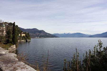 bella: the lake, buildings and landscape in spring