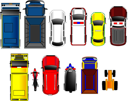 Thai Cars top view set Ilustrace