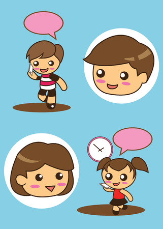 Boy and Girl talking Vector