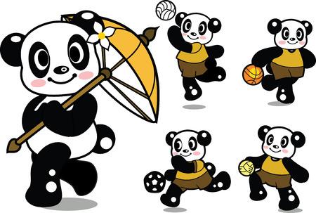 lanna: Cute Panda Playing Sports Illustration