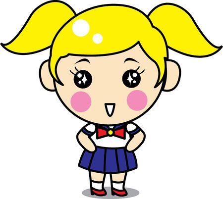 cartoon school girl: Cute Girl Cartoon with Uniform School Illustration