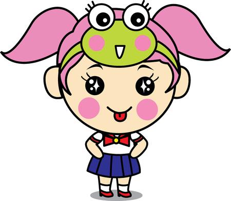 cute girl cartoon: Cute Girl Cartoon with Uniform School Illustration